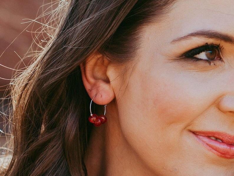 Red Quartz Hoop Minimal Earrings  Small / Thin Gemstone Boho image 0