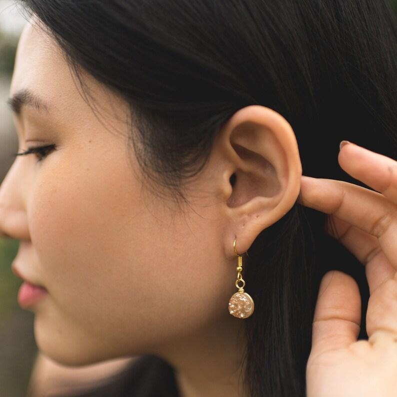 Peach Druzy Dangle Earrings  Raw Quartz Drop Earrings  image 0