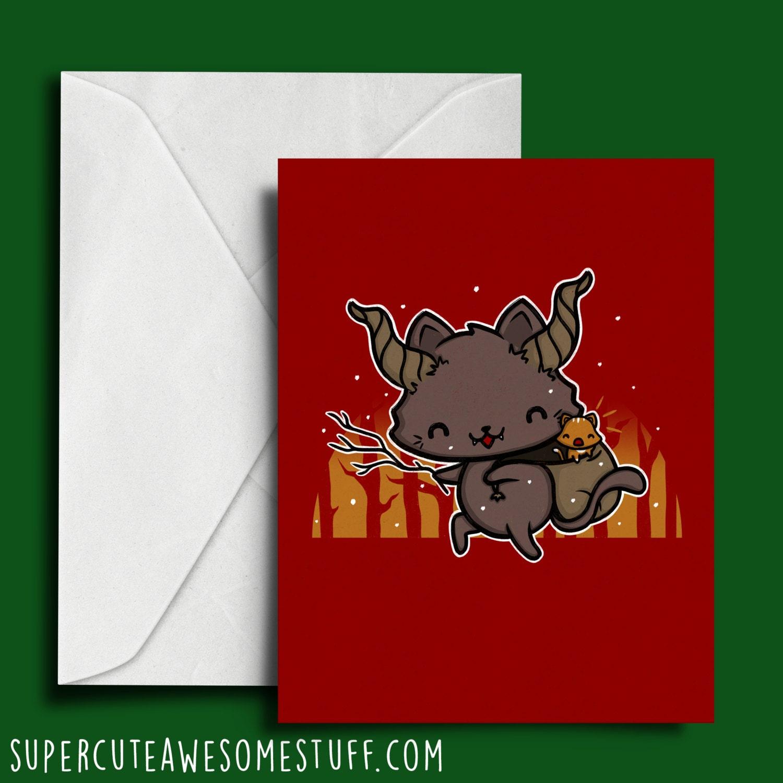 Meowy Krampus Krampus Christmas Card Cute Krampus Cute | Etsy
