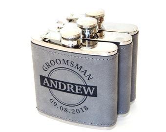 Personalized Groomsmen Gifts Flask - Groomsman Gift - Leather Wrapped Flasks for Men - Best Man Flasks, FL01