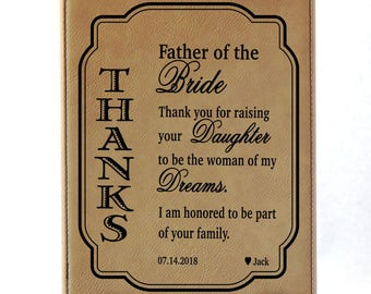 Father of the Bride Wedding Gift - Gifts for Mother of Bride from Groom - Thank You for Raising the Woman of My Dreams-Father In Law, LPW010