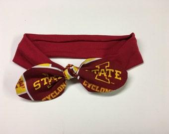 ISU Stretch/Athletic/Workout/Cheer/Baby  Iowa State Cyclones Headband. Cyclone Bow. Football. Basketball. Knit Headband. Hair Accessory.