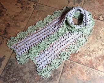 elegant grey and moss-green handmade crochet lace easy coordinate scarf