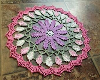 pastel color flower design handmade crochet doily, home decor, table accessories