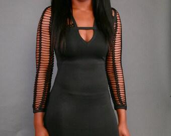 Knitted Black Bandage dress