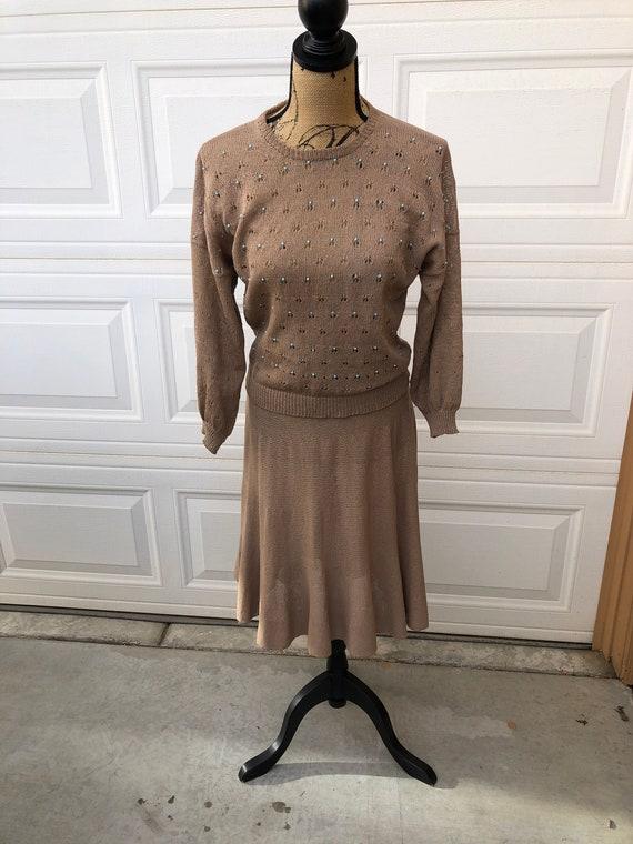 Vintage 1950s brown beaded knit set size large