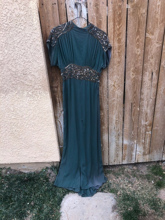 1930 gorgeous green Grecian goddess dress size sma