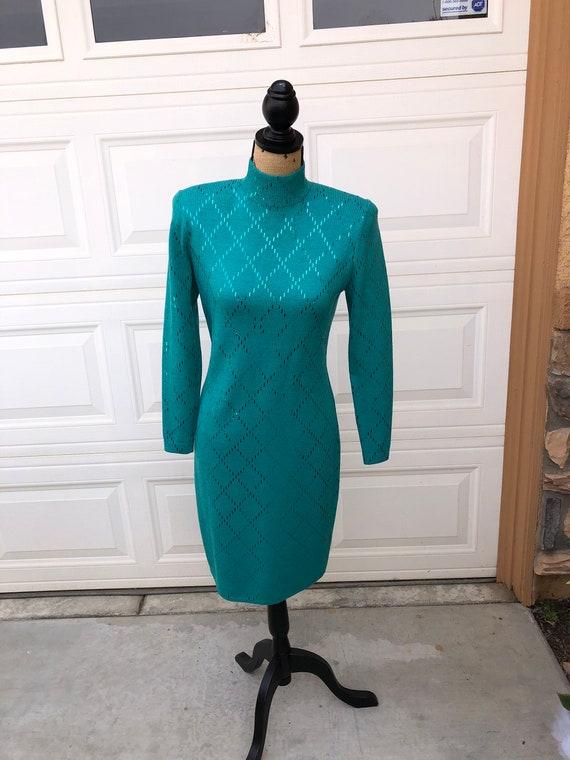 1980's Green Knit St. John's evening sweater dress