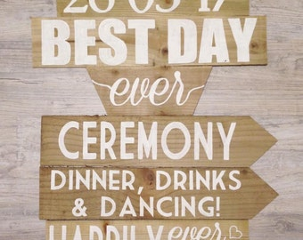 Best Day Ever 6 Slat Signpost, Rustic Signpost, Wedding Sign