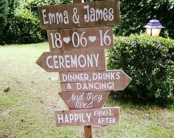 Rustic Wedding Signpost Slats