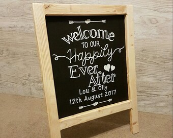 Wedding Blackboard, Welcome to our Happily Ever After, Frame, Chalkboard, Freestanding, Rustic
