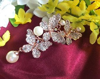 Beautiful Crystal Rhinestone Butterflies with Faux Pearl Women's Brooch Pin Wedding Brooch Limited