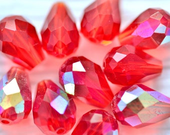 Red Faceted Glass Beads, Teardrop, Top Drilled, 10 x 7mm, 10 beads, Jewelry Making, Beading, Craft Supply