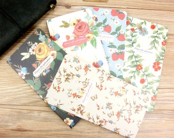 Vintage floral Midori,MTN,Fauxdori Kraft Refill (3) ,Personal size, Travelers notebook inserts, journal notes, Kraft paper notebook