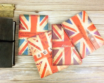 Set of 4 ~ I love UK Midori,MTN,Fauxdori Notebook Refill ,A6 size, Travelers notebook inserts, journal notes,England A6 notebook set