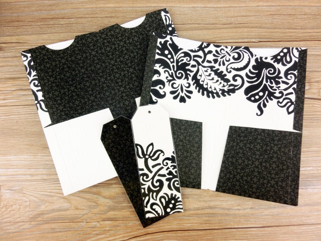 Set of 2 - Texture Black.White Floral Fauxdori | Midori Travelers Notebook Folder | All sizesl | Free gift-set of 2 laminated bookmarks