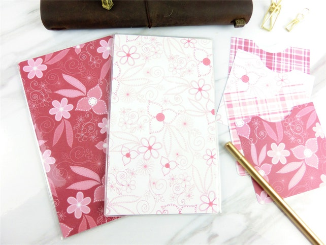 Set of 2 Tri-fold Pink flowers (4) Fauxdori/Midori Dashboard & Optional 6 pocket stickers,Cahier,Regular,B6,B6slim, Personal,A6,FN,PA,Micro