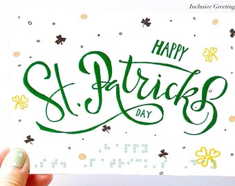 St Patrick's Day Card with braille Inclusive Greetings Handmade
