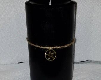 Black Pentagram Pillar Candle, Pentagram Pillar Candle, Gothic Decor, Wiccan