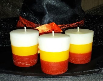 Candy Corn Votives, Halloween Votives, Candy Corn scented votives, Halloween Candles, 6 pkg. candy corn votives, Party Favors, Wedding Favor