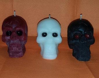 Skull Wax Candles, Solid Wax Skull Candles, White Skull Candle, Red Skull Candle, Black Skull Candle, Custom colors & scents