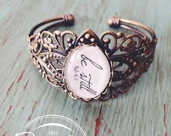 Be Still Jewelry, Handwriting Jewelry, Scripture Bracelet, Infertility Jewelry, Cuff Bracelet, Mom Birthday Jewelry, Adoption Jewelry