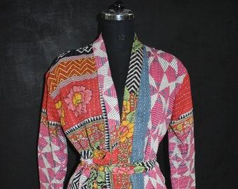 Winter Long Jacket ,Coat ,Vintage Kantha Patchwork Handmade Kantha Stitch Robe,Cotton Kimono,Bath Robe,Swim Wear, Free Size.Long Jacket