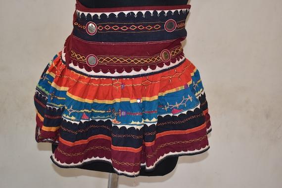 Boho Banjara Skirt Old Kuchi collectible tribal Ethnic Mirror Embroidered skirt