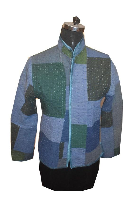 indigo patch jacket / solid blue jacket /  Indigo