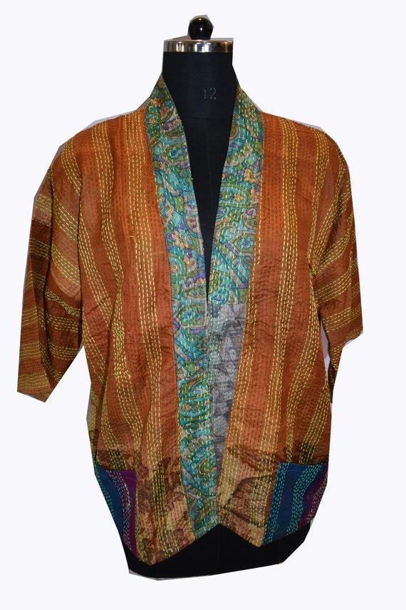 Kantha Kimono Jacket,Sari Silk Robe,Patchwork, Boh