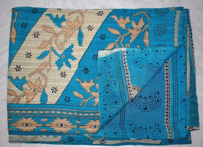 Indian Vintage Kantha Quilt Bedsheet Handmade Kantha Coverlet Throw Reversible Kantha Blanket Cotton Kantha ARTRL40 BY artisanofrajasthan