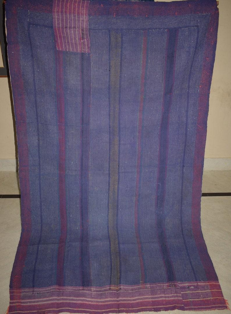 Vintage Throw Kantha Quilt Indian Handmade Bohemian Bedspread Reversible Cotton Ethnic Sari Fabric Embroidered Bedding Blanket Gudar 3282