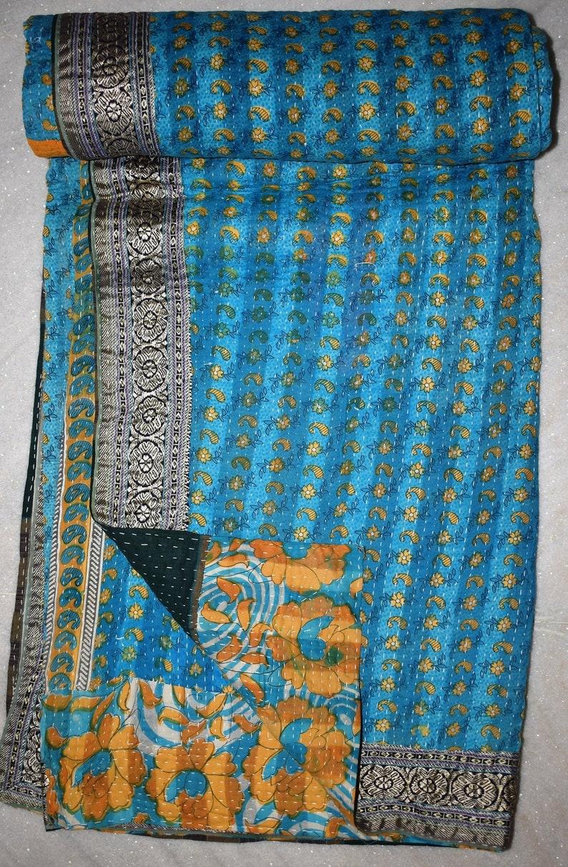 Twin Sari Block print Reversible Kantha Quilt Vintage Sari Kantha Throw 317