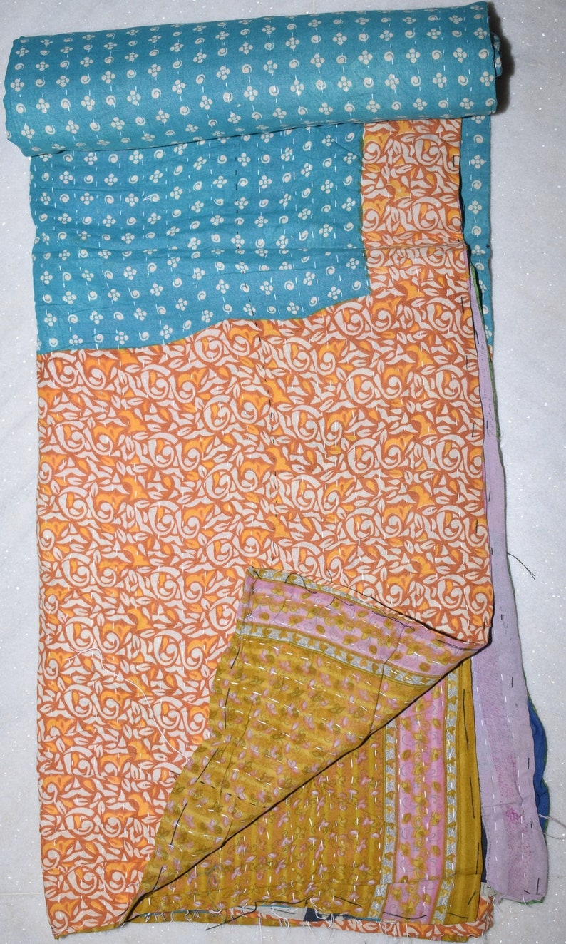 Indian Ethnic Traditional Artisan Bohemain Multi Color Reversible Vintage Kantha Quilts Twin Size Floral Throw 3179 BY artisanofrajasthan