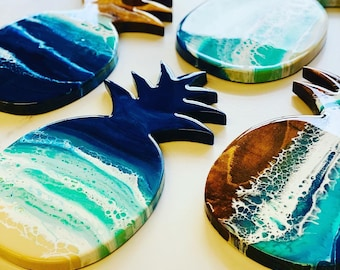 Pineapple wall art , resin wall art, resin serving board, pineapple housewarming gift.