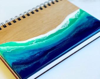 Ocean journal , wood journal , walnut resin notebook , mahogany resin notebook