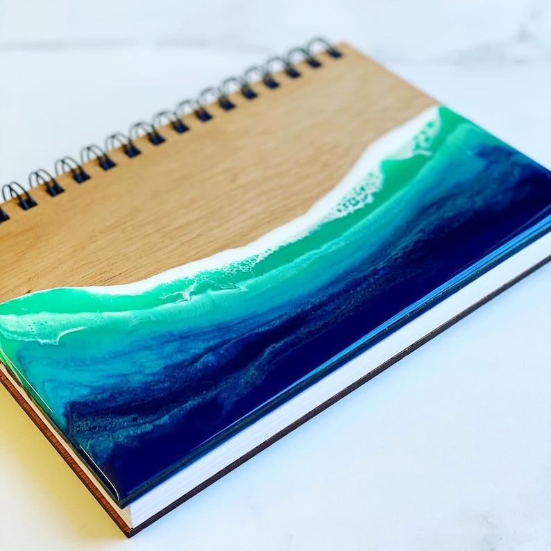 Ocean journal  wood journal  walnut resin notebook  image 0