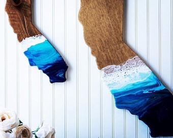 Hand painted California • Ooak art • California Shaped Wall Art • State Pride • Housewarming Gift • College dorm decor • Resin Art