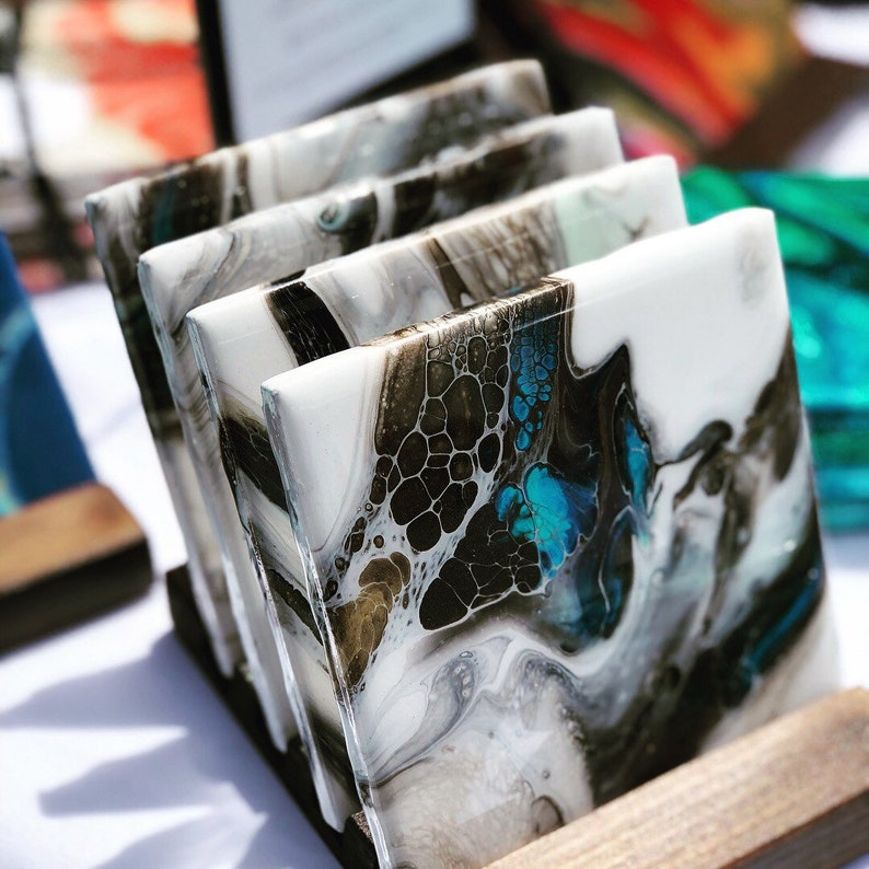 Hand painted coasters  set of 4 coasters  One of a kind  image 0