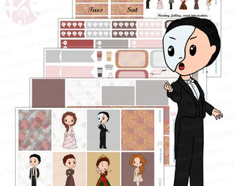 Broadway Musical Stickers   Phantom of the Opera Inspired Cute Weekly Planner Kit