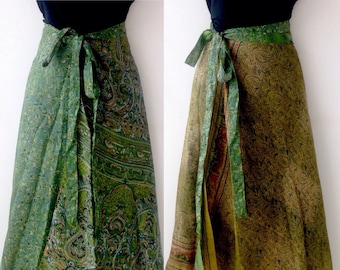 a657fd045f36 Silk Wrap Skirt made from Upcycled Indian Saris / Reversible skirts / Green  Skirt / Festival Skirt/ Indian wrap skirt / long length