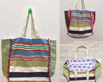 d9f7c8da05e7 Striped PomPom Tote Bag  Travel Tote  Beach Bag   Gifts for her   Farmers  Market Tote Bag   School bag   Shoulder bag   boho bag