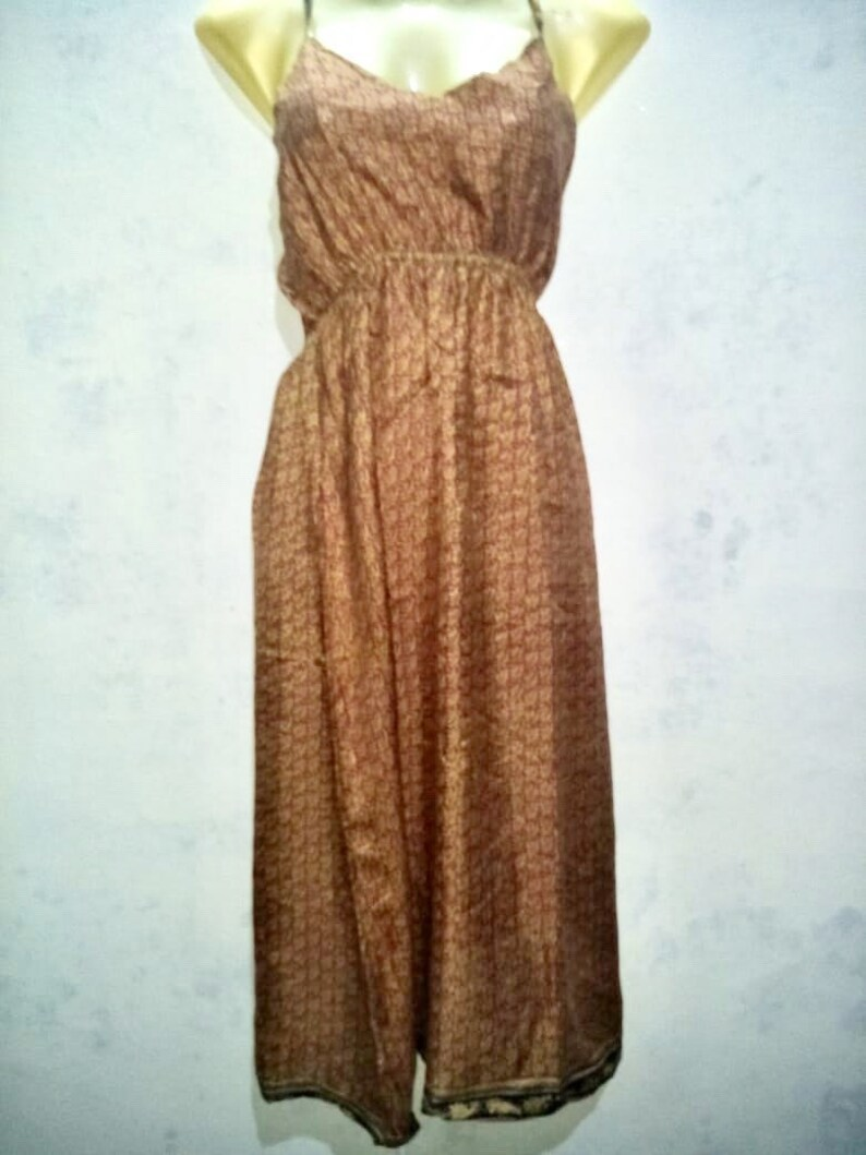 Silk Sari Baby Sun Dress with Multi-Color Indian Design SmallMedium Ethical Fashion