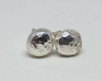 Hammered silver earrings / textured earrings / pebble studs / gift for her / bridesmaid gift