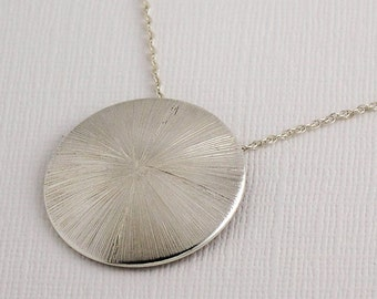 Sunburst necklace / sunbeam pendant / domed necklace / delicate silver necklace / gift for her / bridesmaid gift