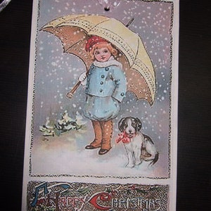 Primitive Hang tags ~ FOUR Large Vintage Inspired Christmas Puppy Gift Tags ~ Keepsake ~ Notecard