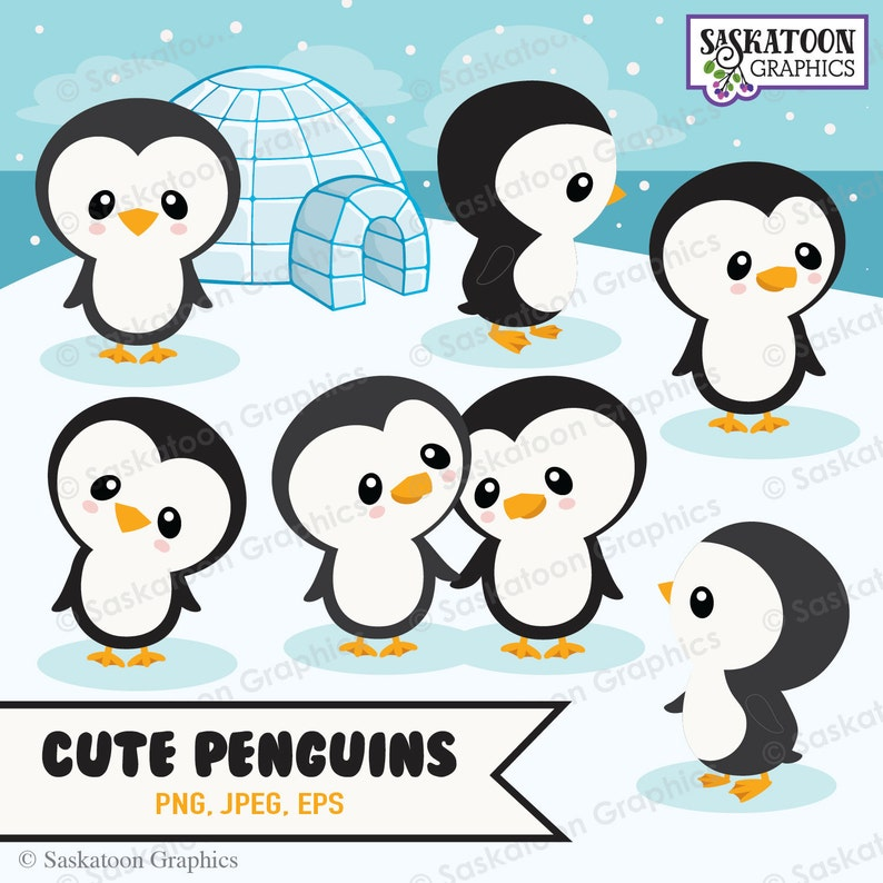 Cute Penguin Igloo Clipart - Instant Download File - Digital Graphics -  Crafts, Web Design - Commercial & Personal Use - #A018