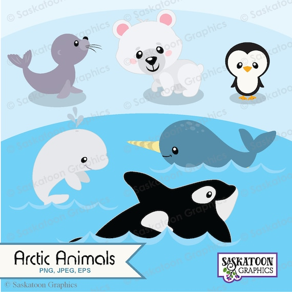 cute arctic animals clipart instant download file digital etsy