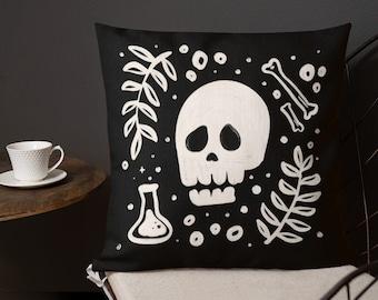 Halloween Illustrated Throw Pillow // Spooky Skull Decorative Pillow // Unique Goth Home Decor // Spooky Season Decoration