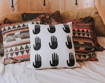Modern Throw Pillow // Minimalist Decorative Pillow // Illustrated Hands Home Decor